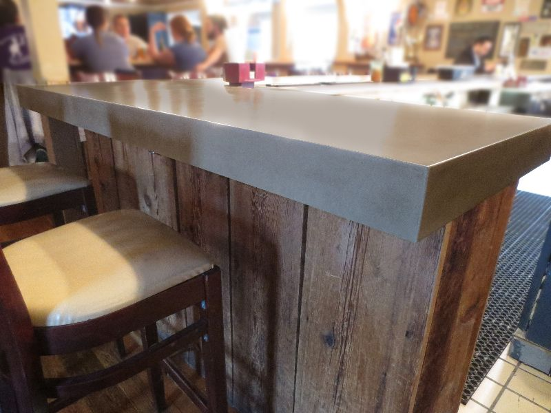 Concrete Bar Top This One Has Reclaimed Wood Below The