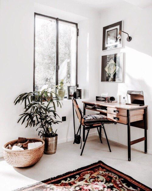 Pretty little nook // desk / rug / basket / plant / artwork / window // loving every detail and all that natural light!