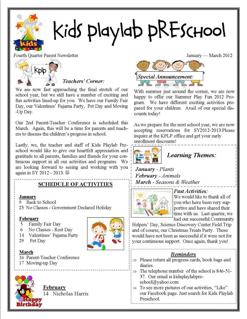 Kids playlab preschool in makati city fourth quarter for Childcare newsletter templates