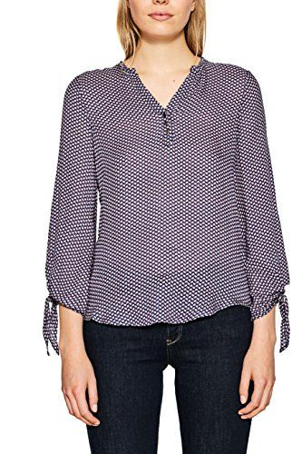Esprit 087ee1f013, Blusa para Mujer, Multicolor (Navy 400), 38