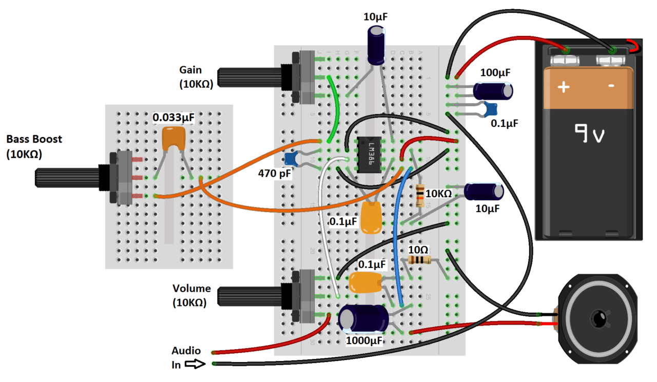 lm386 audio amplifier great sounding amp with bass boost electronic schematics guitar stand audio [ 1280 x 744 Pixel ]
