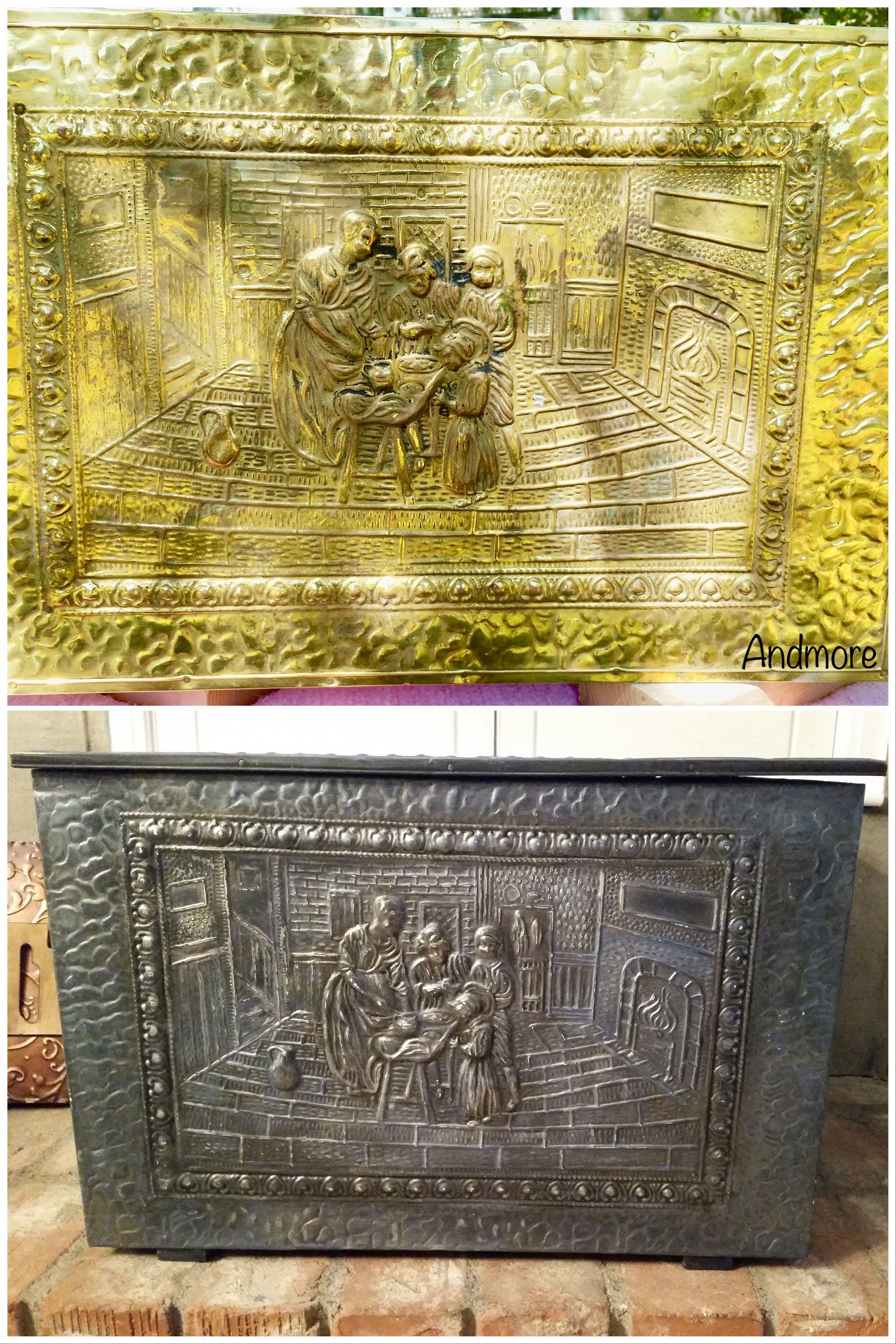 spray painted and glazed old brass firewood box my projects