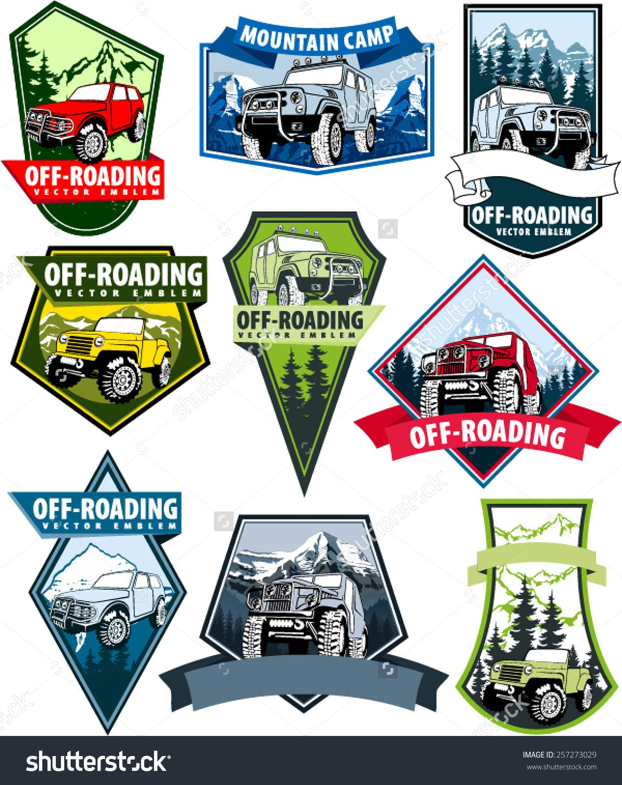 Set Of Vector Emblems With 4x4 Vehicle Off Road Car And Mountains