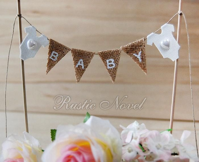 Beautiful Wedding   Baby Shower Cake Topper, Burlap Cake Bunting, Birthday Cake Banner