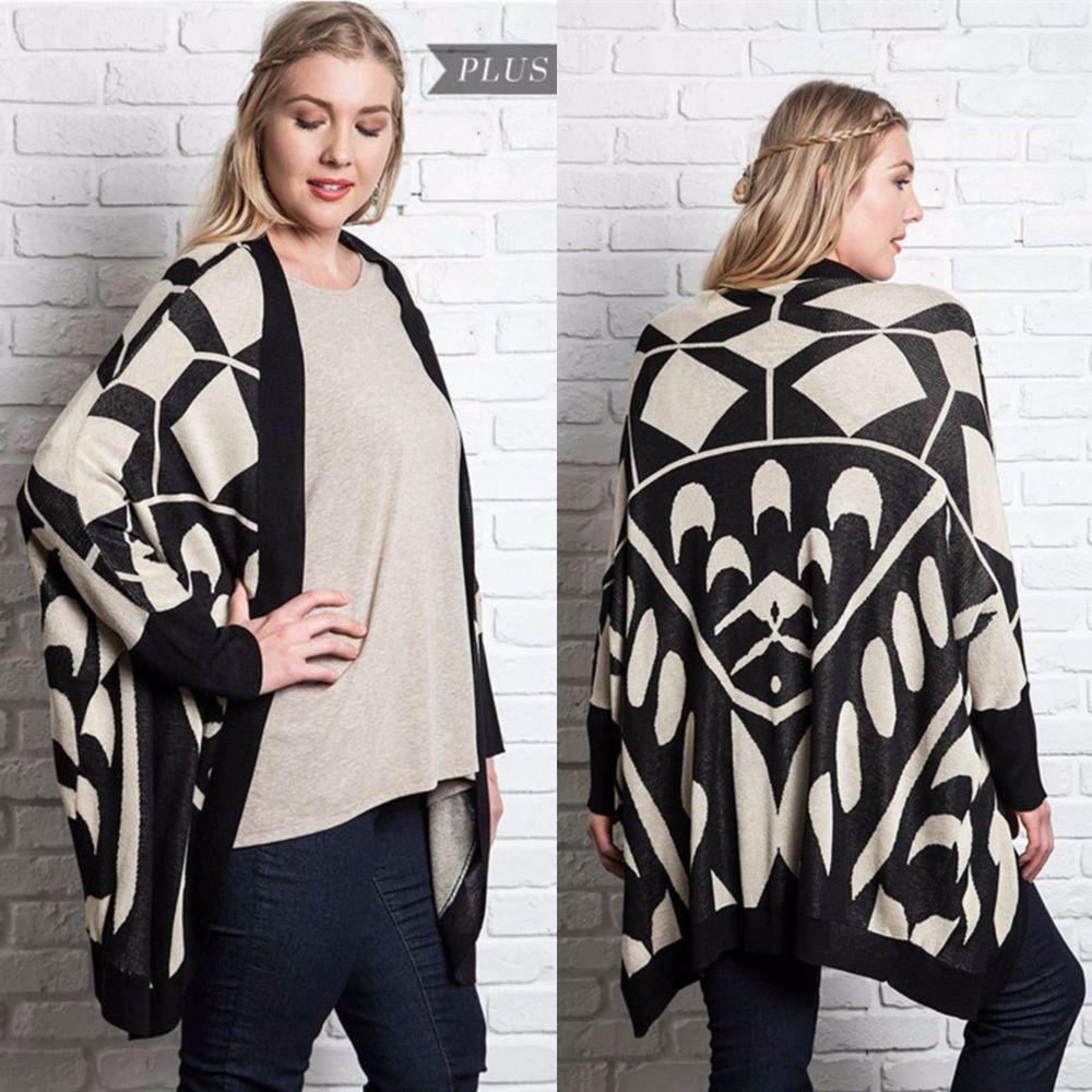 Umgee PLUS Printed Jacquard Knit Kimono Cardigan Black Taupe Boho ...