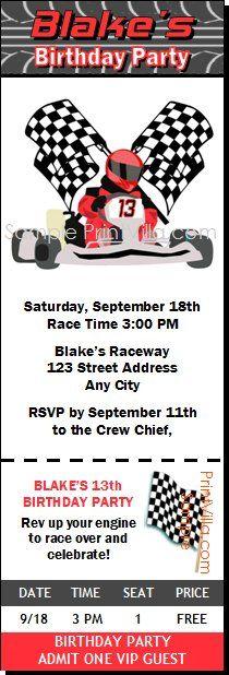 Go Kart Racer Birthday Party Ticket Invitation - ticket invitation