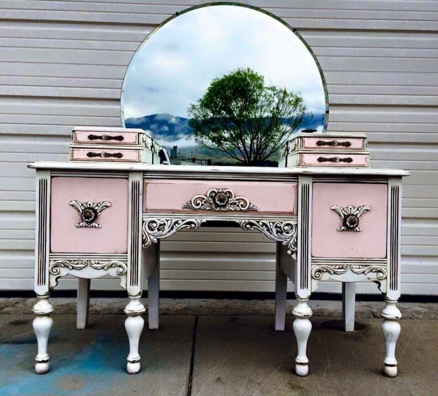 Pink Antique Vanity With Images