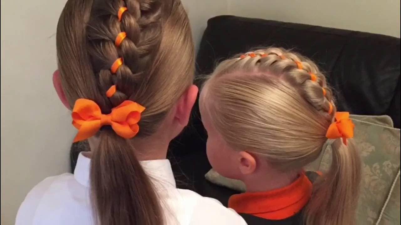 Four Strand Ribbon Braid Mohawk Hair Tutorial By Two Little Girls Hairst Little Girl Hairstyles Hair Braid Videos Braided Headband Hairstyle