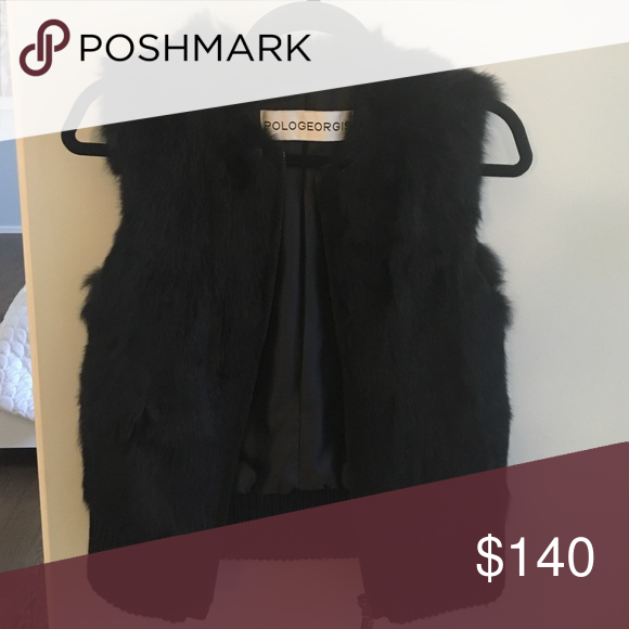 Pologeorgis Black Rabbit Fur Vest Beautiful, soft and real rabbit fur vest. Great item to have for fall/winter outfits. Great discount!! Worn once. Looks brand new. Pologeorgis Jackets & Coats Vests