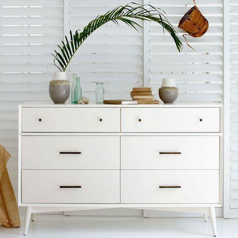 Mid Century 6 Drawer Dresser White