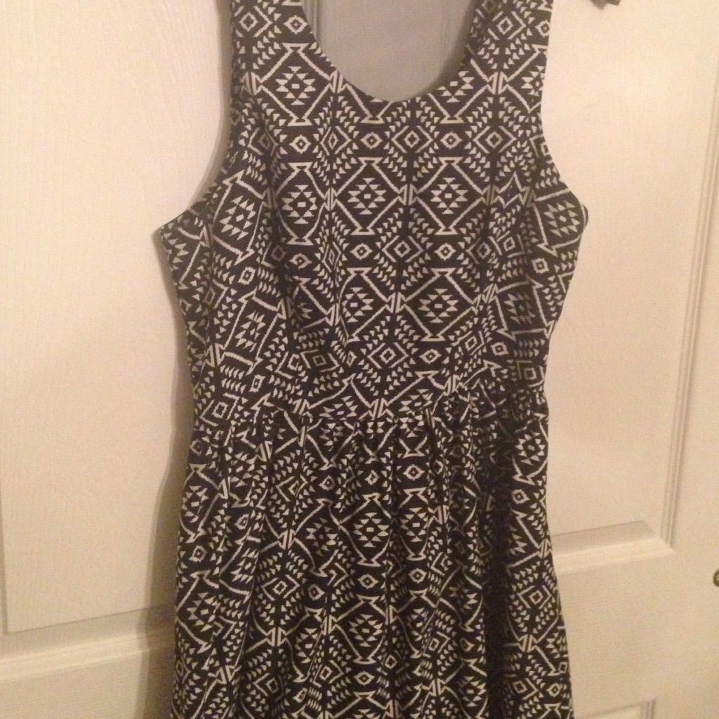 Aztec Skater Dress With Open Mesh Back