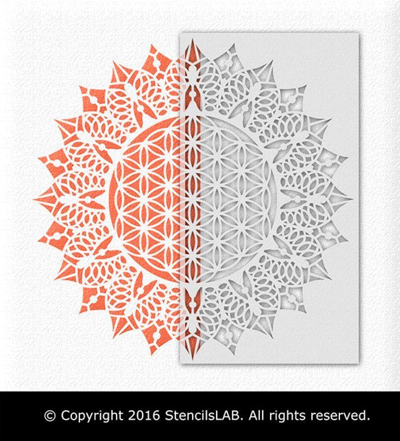 Mandala Schablone Blume Des Lebens Schablone Fur Malerei Etsy Mandala Schablonen Mandala Muster Blume Des Lebens