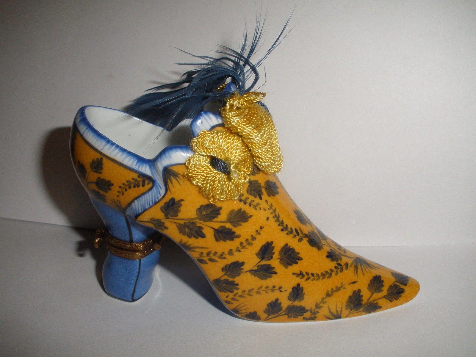 Limoges Box Fiona Saunders Floral Victorian Shoe 2 Trinket Box 185