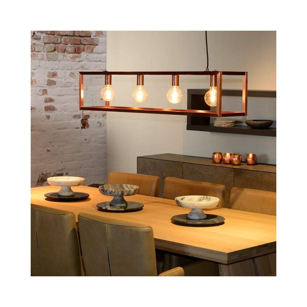 Copper Island Light Pendant With Vintage Amber Lights Bulbs Lucide Oris Lamp Oris Copper Copper Dining Room Copper Ceiling Lights Dining Table Pendant Light