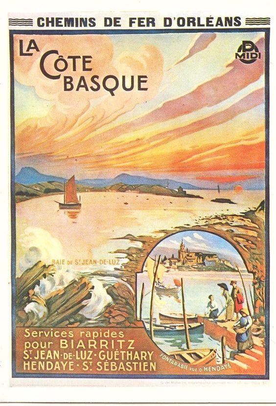Vintage Railway Travel Poster La Cote Basque Biarritz St Jean De Luz Guethary Hendaye Affiches De Voyage Retro Affiches De Voyage Tourisme En France