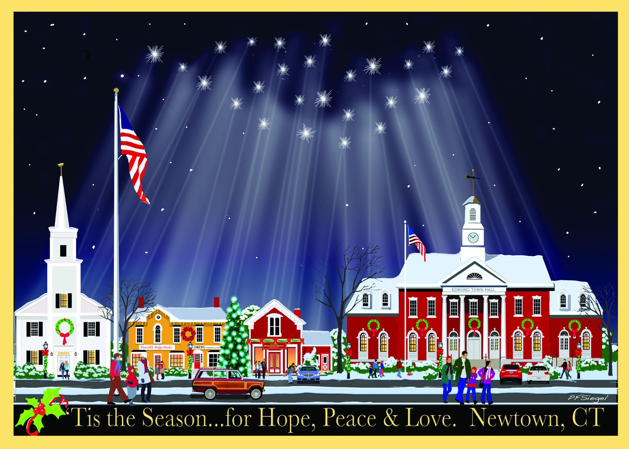 """'Tis the Season to Remember' Newtown Main Street Holiday Card. 5""""x7"""" cards in boxed set of 10 with envelopes. Artist: Paul Siegel. $15.00"""
