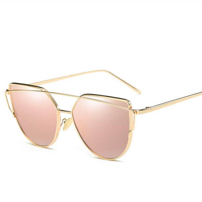 2017 marca retro cat eye sunglasses donna vintage fashion rose gold specchio occhiali da vista unico piatto signore eyewear oculos uv400