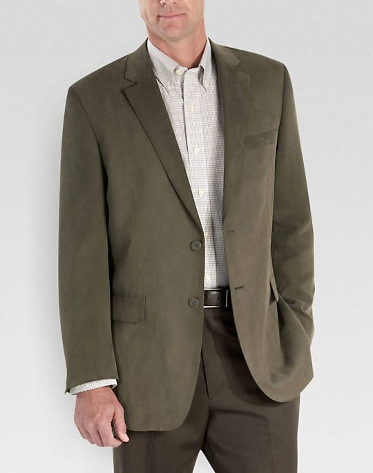 44L Andrew Fezza Olive Microsuede Modern Fit Sport Coat - Sport
