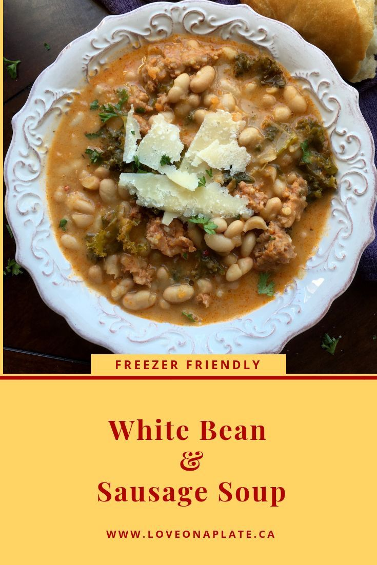 This easy to prepare White Bean and Sausage Soup recipe is one you're sure to love. Easy prep, easy clean up and delicious, freezer friendly soup, that doubles easily and reheats well.