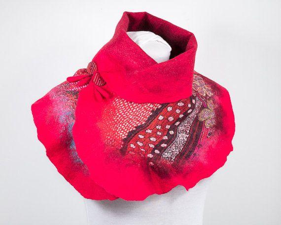 Col feutre-Echarpe-Châle feutrage Nuno-Etole laine feutrée et soie-Rouge