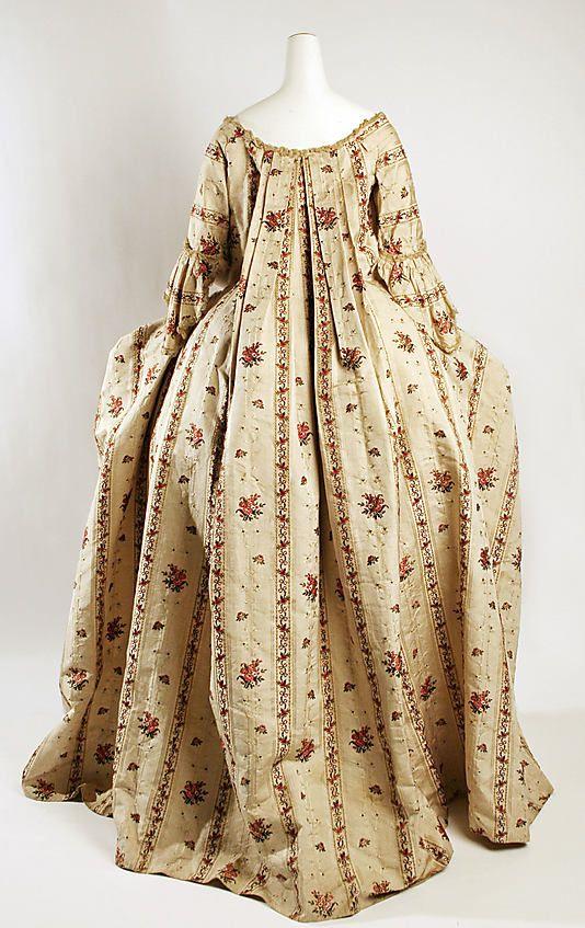 Robe à la Française Date: 1760–70 Culture: British Medium: silk Dimensions: Length at CB (a): 59 in. (149.9 cm) Total Length (b): 38 1/2 in. (97.8 cm) Credit Line: Hoeschst Fiber Industries Fund, 1981
