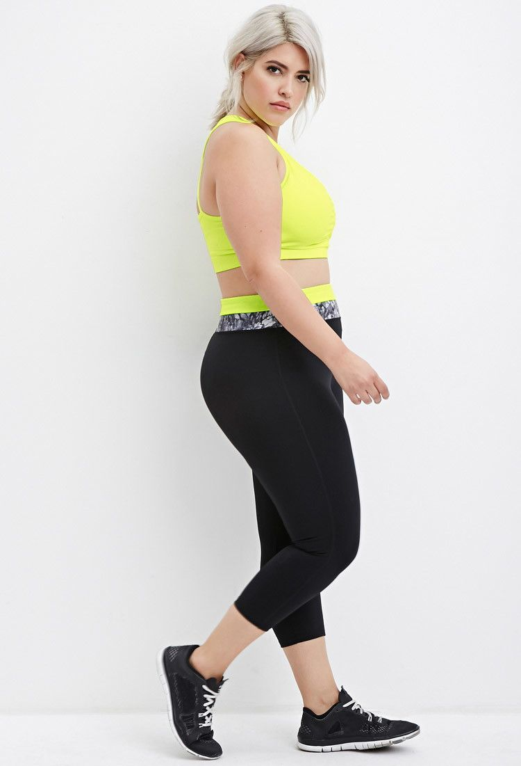 2880921cf Plus Size Contrast-Paneled Capri Athletic Leggings