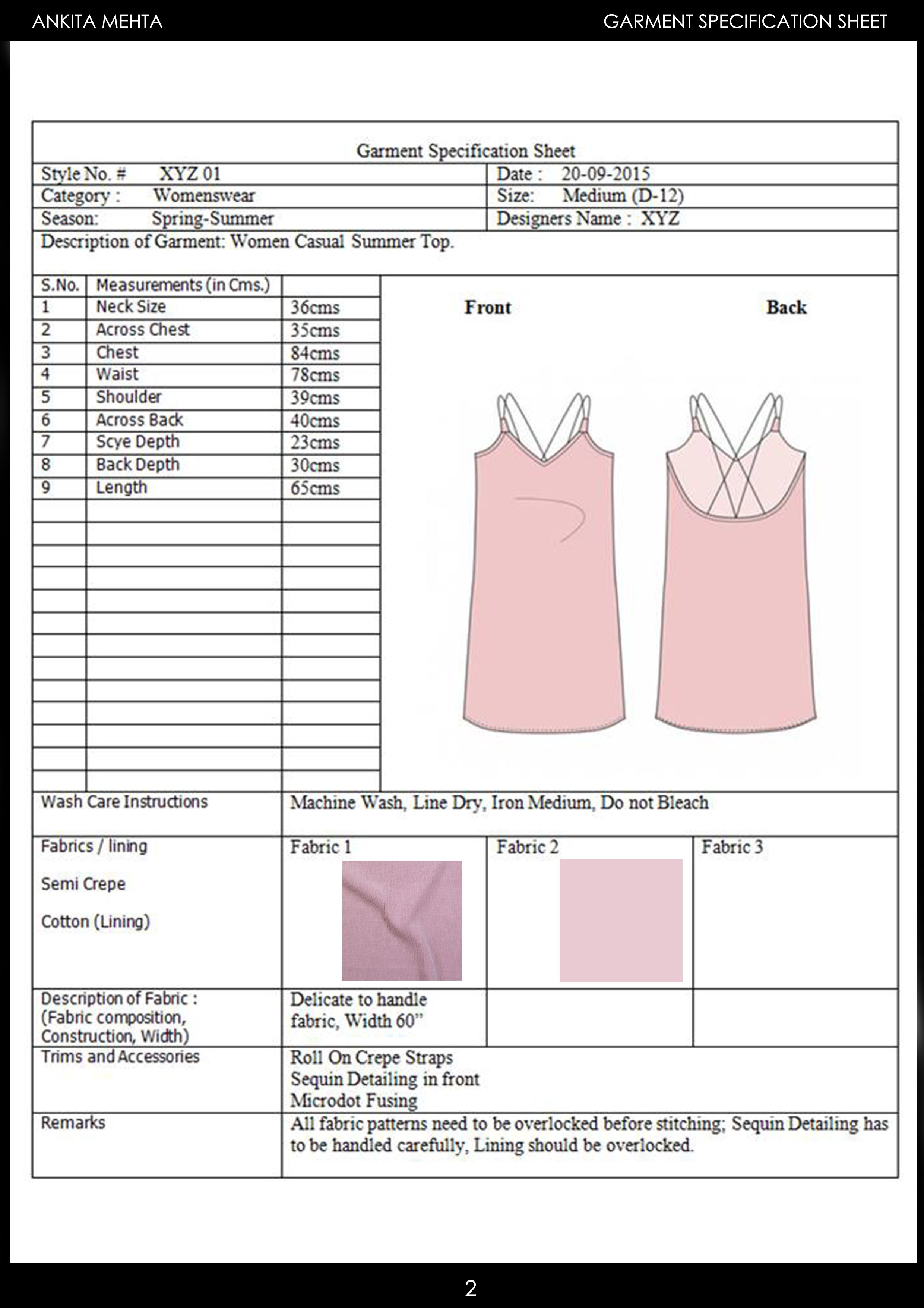 Womenswear Casual Summer Top Garment Specification Sheet Garment