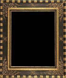 Renaissance antique picture frame black painted and gilded