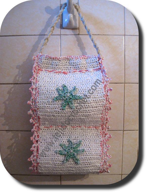 Porta rollo papel higienico en tejido crochet accesorios for Accesorios bano papel higienico