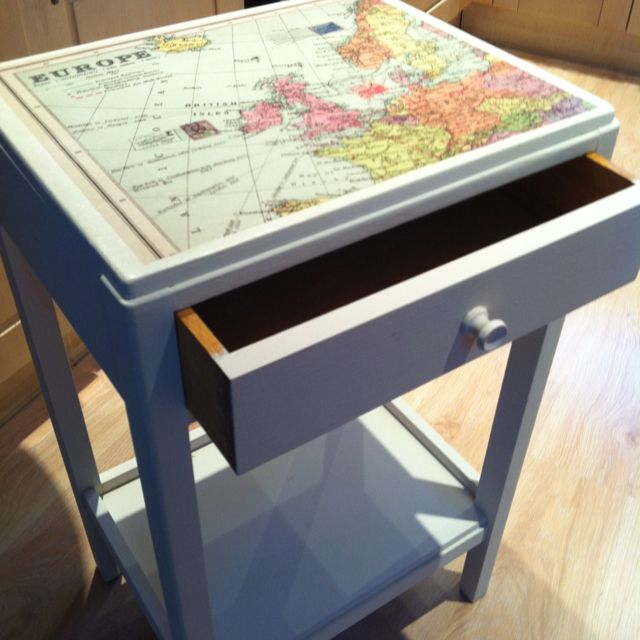 DIY Map Covered Side Table