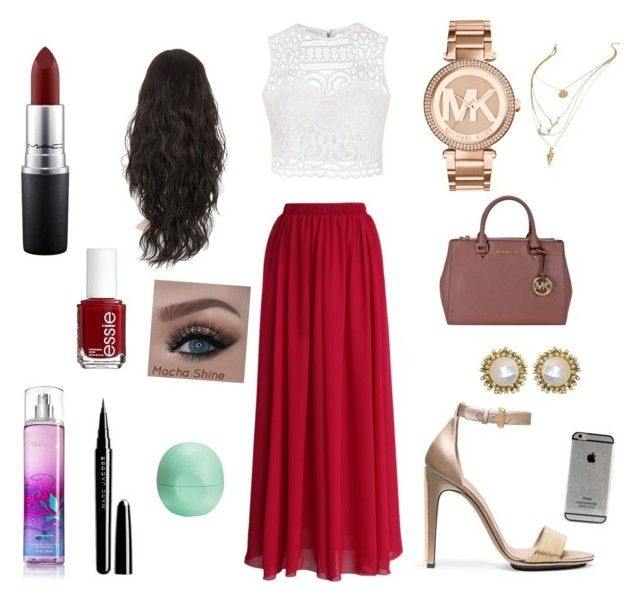 """""""Red and white"""" by madisonbanks on Polyvore featuring Ally Fashion, Chicwish, Calvin Klein, Michael Kors, Kendra Scott, MAC Cosmetics, Essie, Marc Jacobs and Eos"""