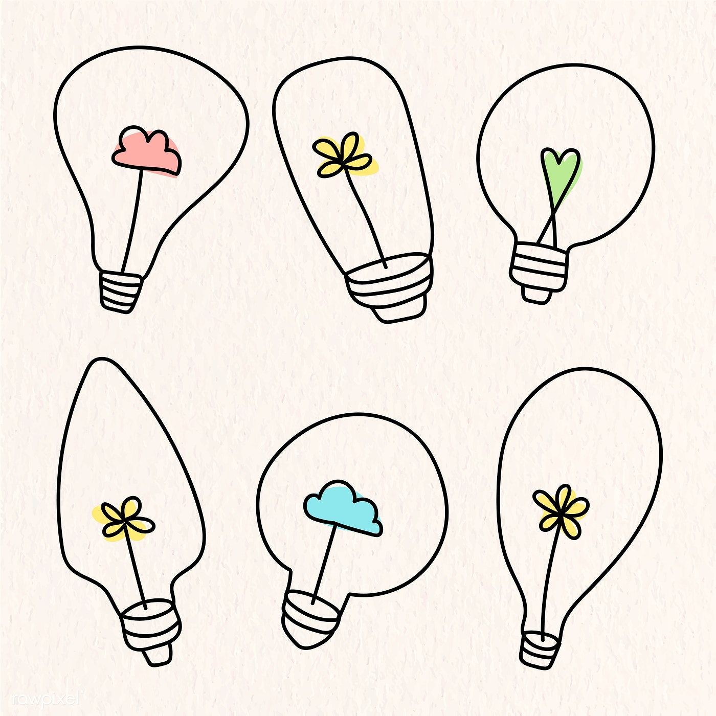 Creative Light Bulb Doodle On Beige Background Vector Collection Free Image By Rawpixel Com Marinemynt Beige Background Light Bulb Icon Free Hand Drawing