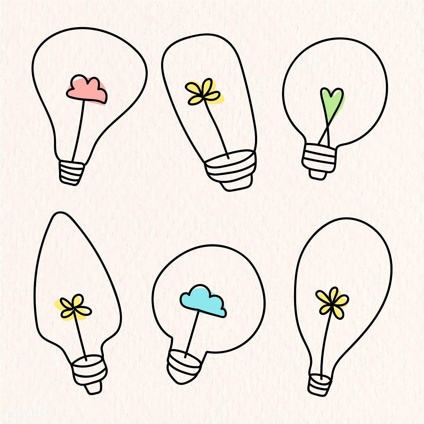 Creative light bulb doodle on beige background vector