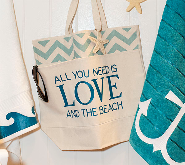 6cbd4fb54 All you need is love and the beach bag made with Cricut Iron-on. Make It  Now in Cricut Design Space