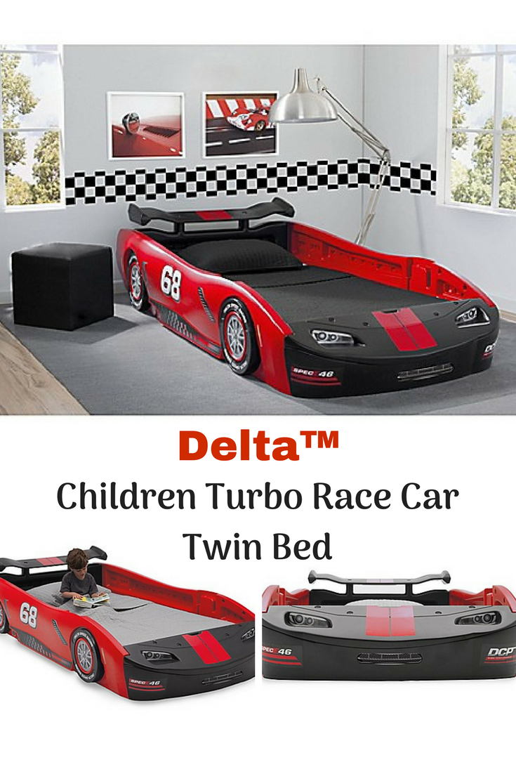 DeltaTM Children Turbo Race Car Twin Bed in Red. ad (With