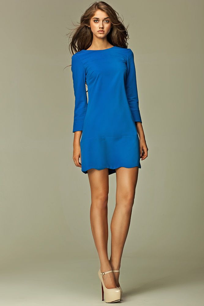 c785cd5055f Robe femme-sexy courte bleu manches longues dos-V Nife-S28 tailles S M L