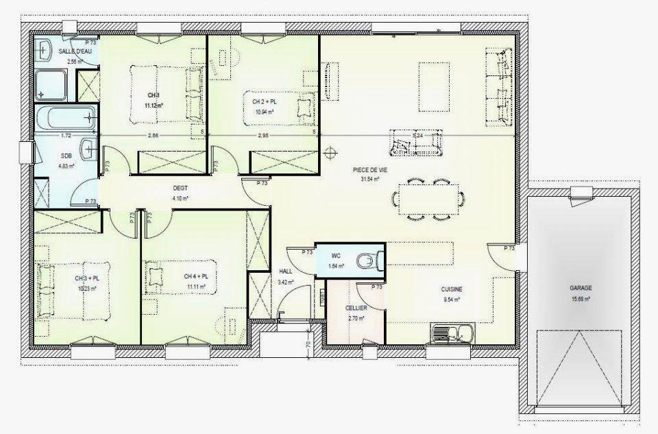 plan de maison plain pied 4 chambres 100m2 - Recherche Google | Plan maison 4 chambres, Plan ...