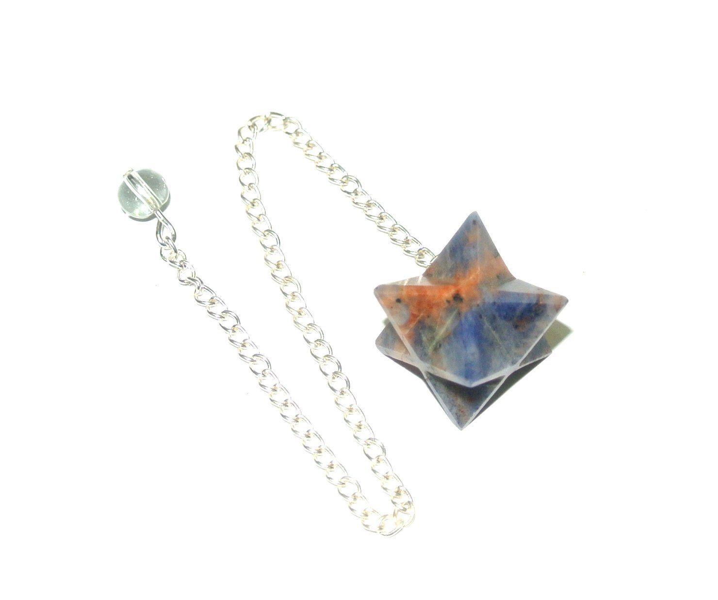 Boho Spiritual Jewelry Merkaba Goldstone Gemstone Star Pendant