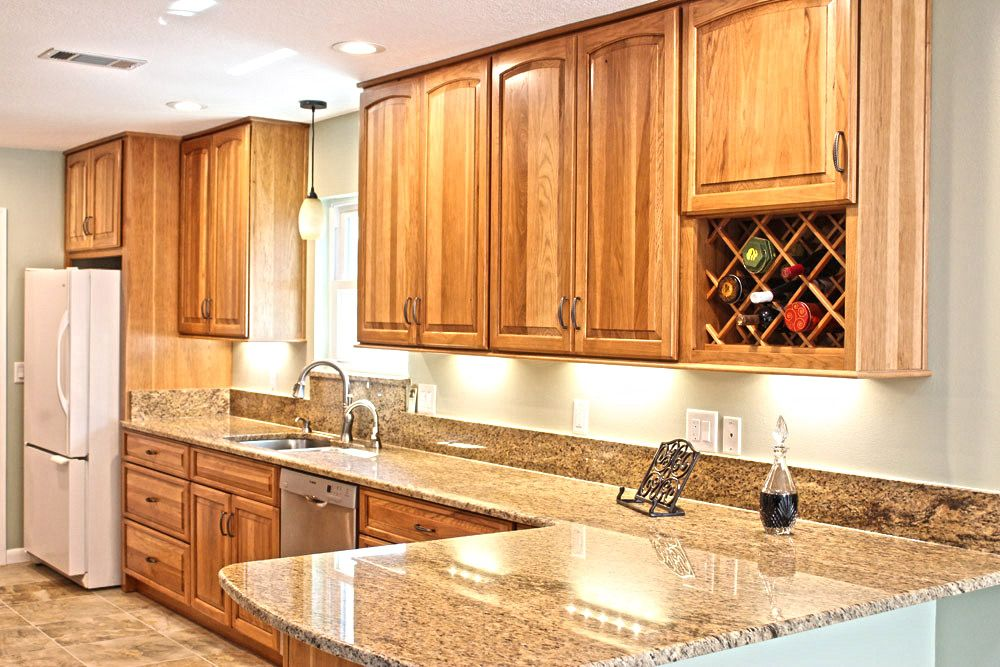 Hickory cabinets with granite countertops google search bathroom pinterest hickory - Knotty hickory kitchen cabinets ...