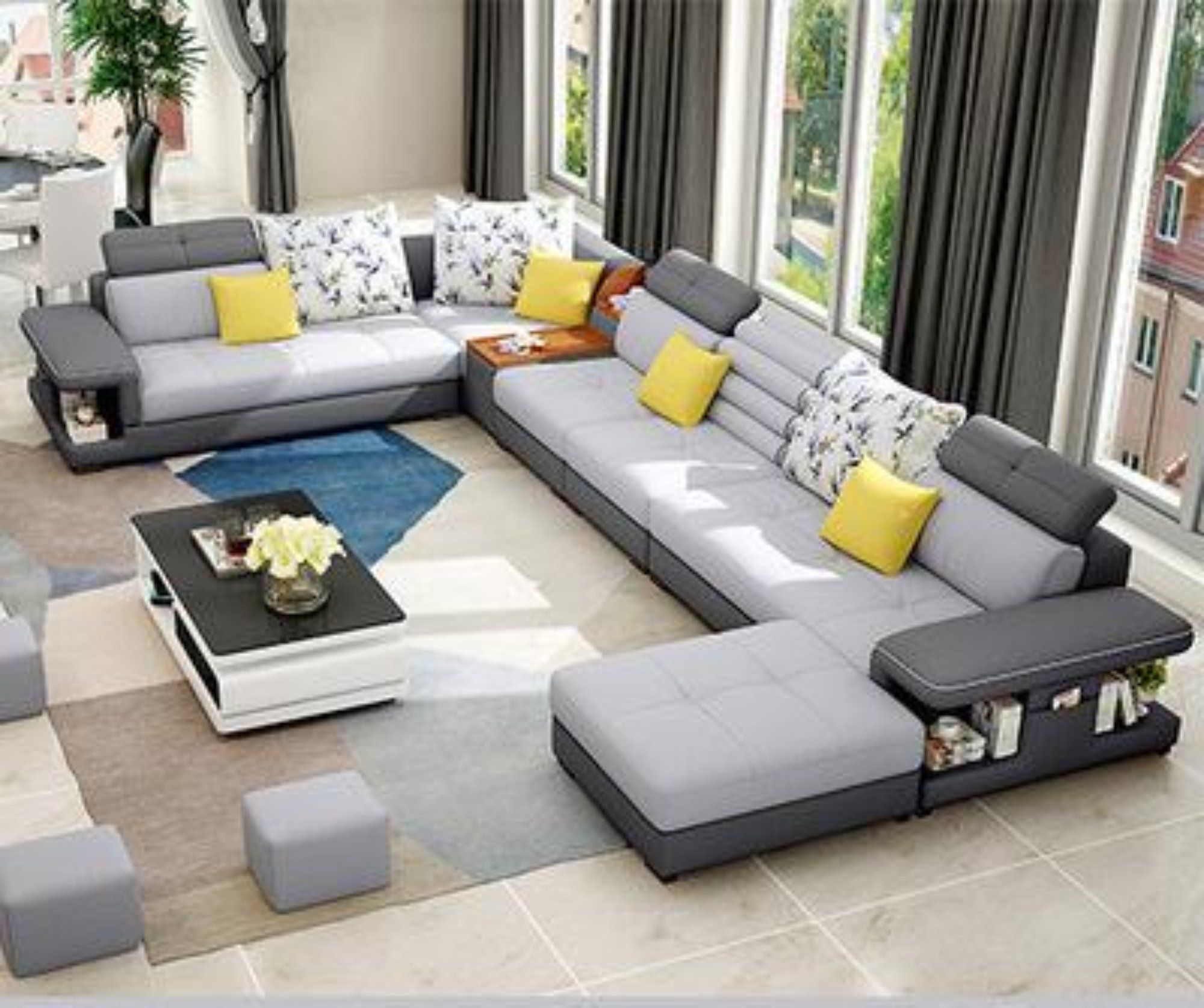 Modern Luxury U Type Fabric Sofa In 2020 Sofa Set Designs