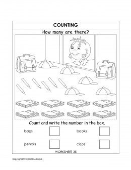 Kindergarten counting worksheet | Places to Visit | Number