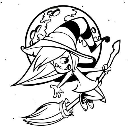 dessin sorcire sur son balai a colorier - Dessin De Sorciere