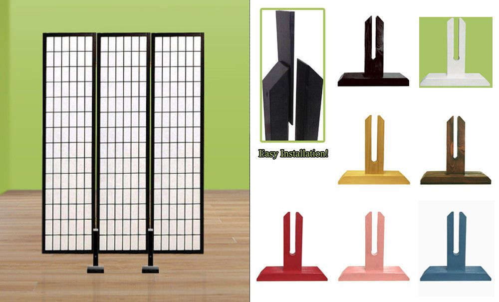 Fc91 New Room Divider Asian Shoji Screen Stand Holder Wall Sectional Partition Ebay