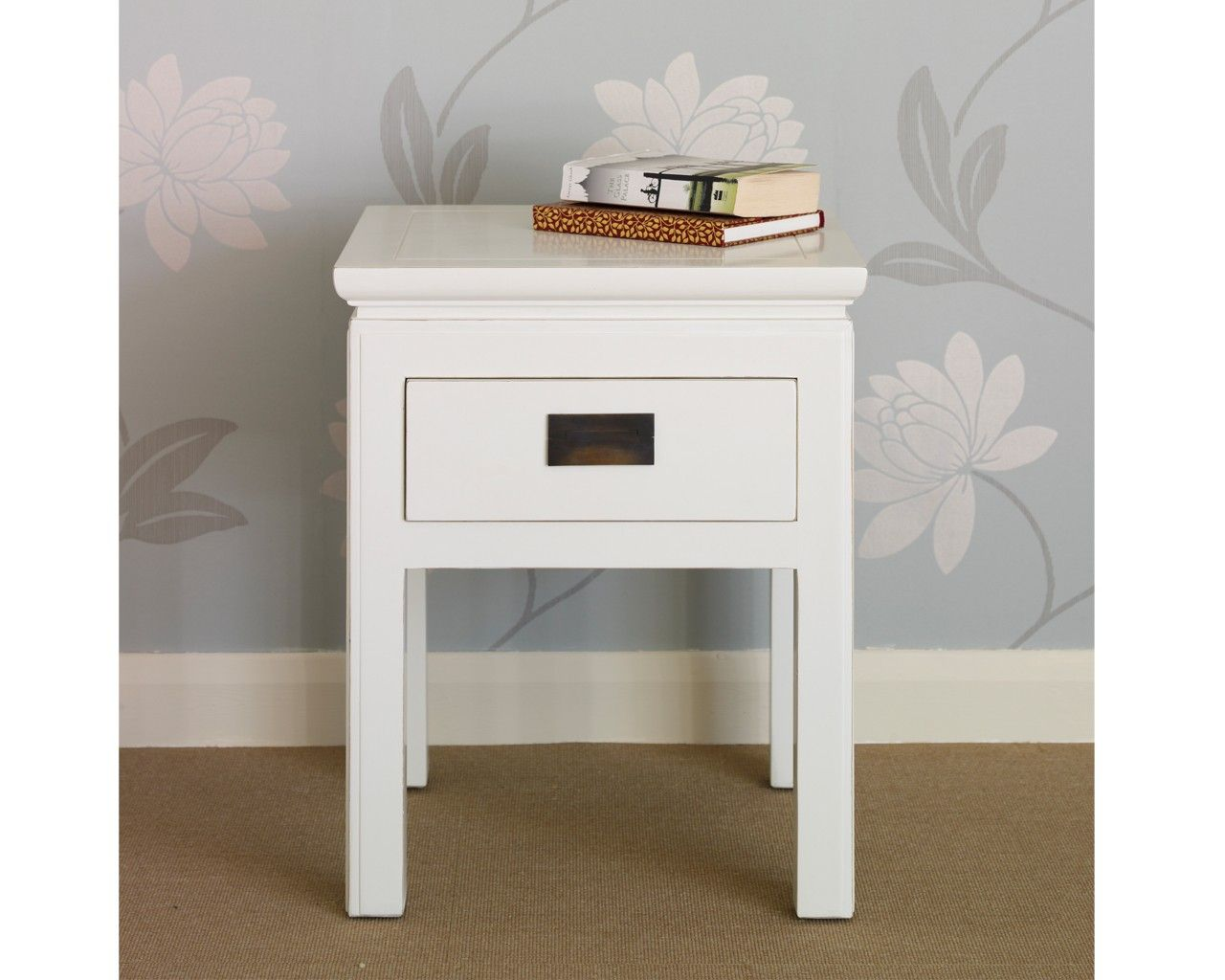 shanxi white lacquered side table with drawer shanxi white