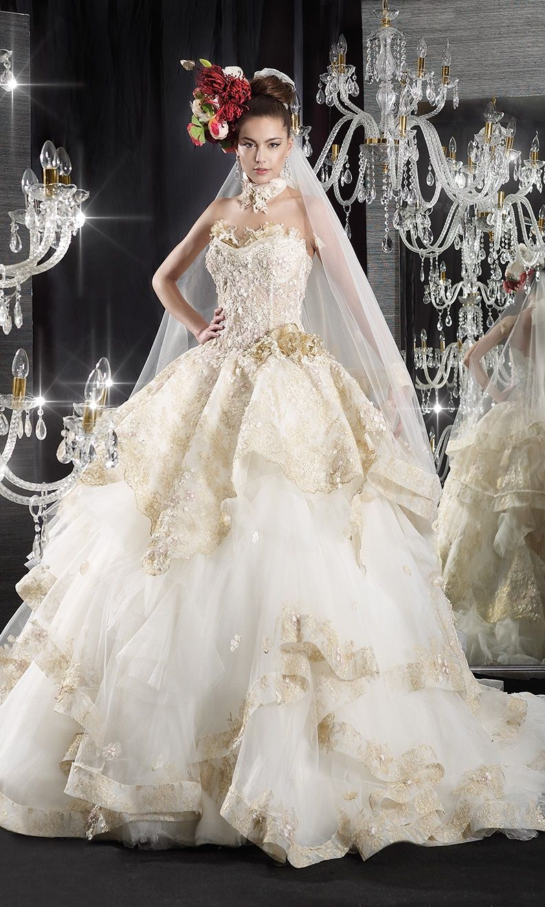 fairytale princess wedding dress, with gold accents, from Jean le ...