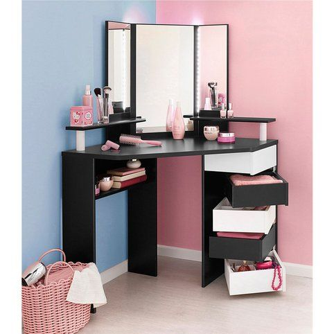 coiffeuse d 39 angle avec miroir parisot volage noir. Black Bedroom Furniture Sets. Home Design Ideas