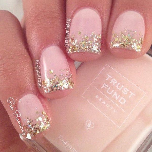 45 pretty pink nail art designs french nails gold glitter and gold 45 pretty pink nail art designs short french tip prinsesfo Images