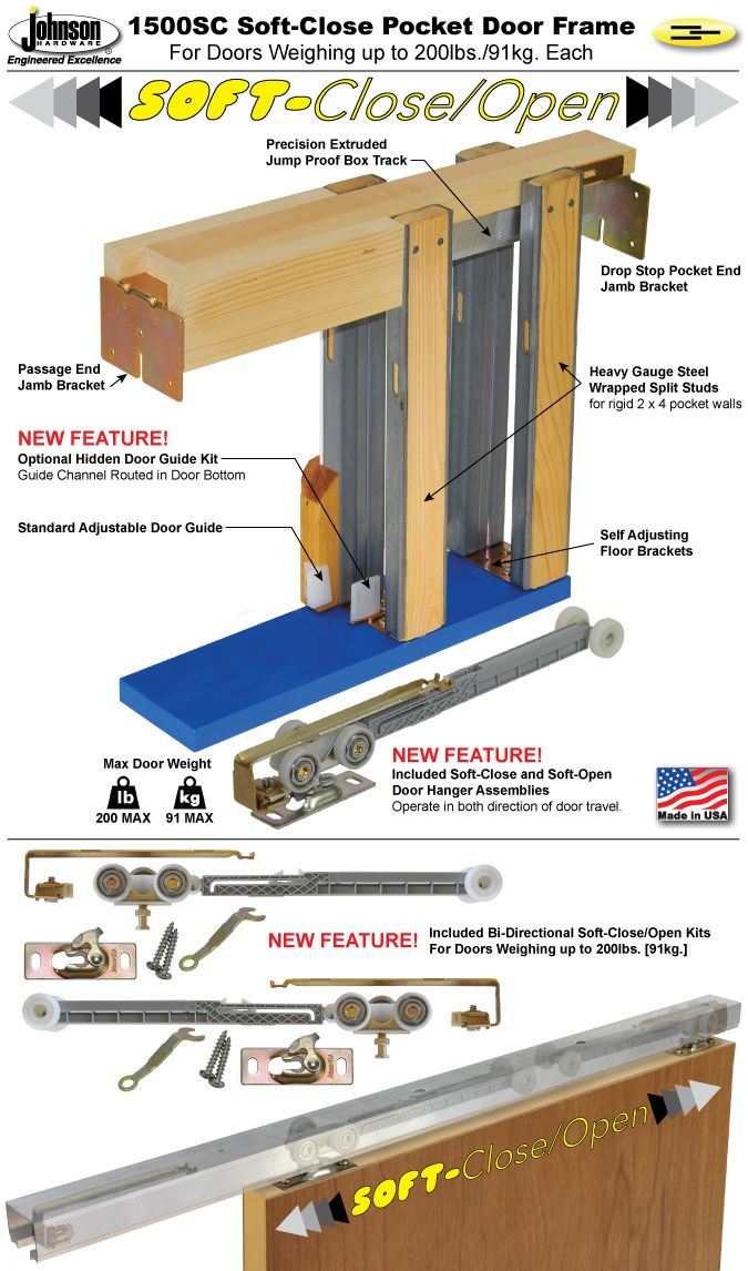 Johnson Hardware® 1500SC Soft Close Pocket Door Frame