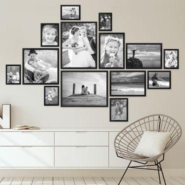 14er Bilderrahmen-Set Modern Schwarz aus MDF 10x15 bis 30x40 cm / Bildergalerie / Bilderwand Bilderrahmen-Sets 14er und mehr #wohnzimmerideenwandgestaltung