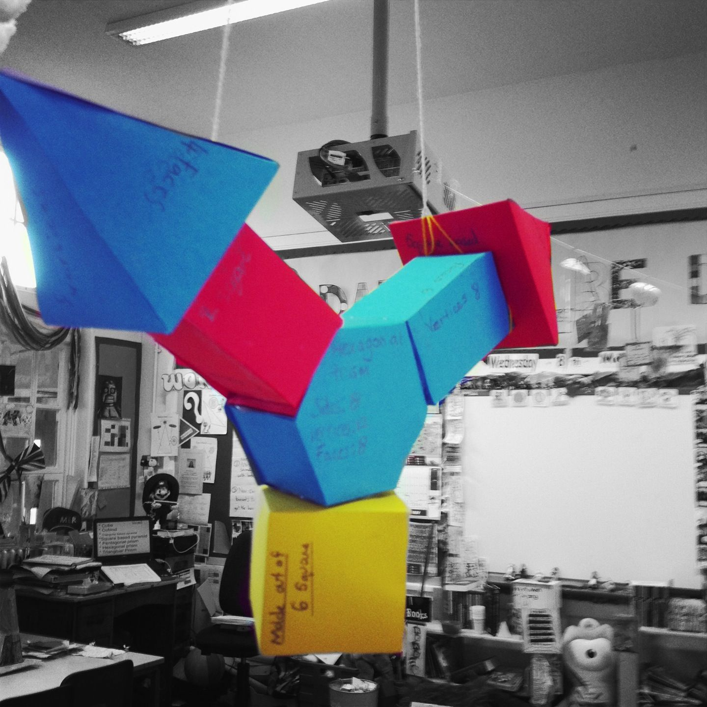 Kids Made 3d Shape Nets Labelled How Many Faces Vertices